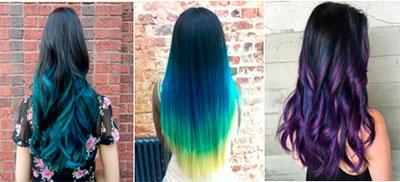 Темные оттенки волос цветной