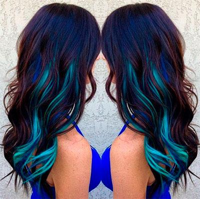 Темные оттенки волос неоновый