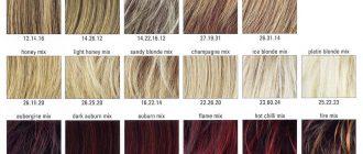 Палитра цветов красок для волос